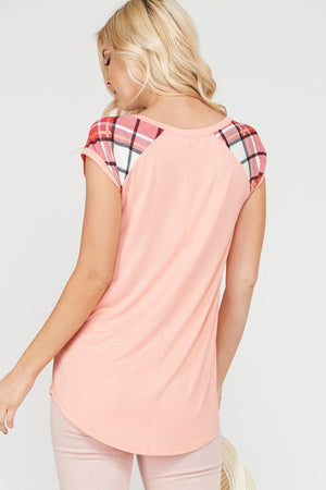 Plaid Jersey-Sleeve Top