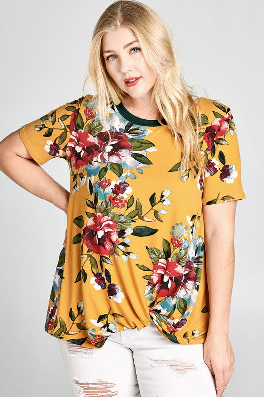 Casual Floral Top with Side Knot