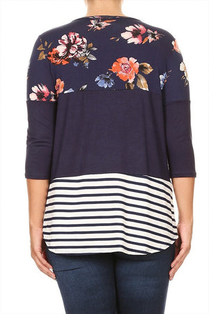Floral and Stripes Color Block Top