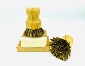Bamboo scrubber and Reusable Natural sponge Set