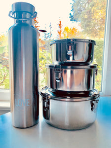 Stainless Steel Water Bottle & 3 Containers