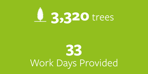 3,320 trees planted and 33 work days provided.