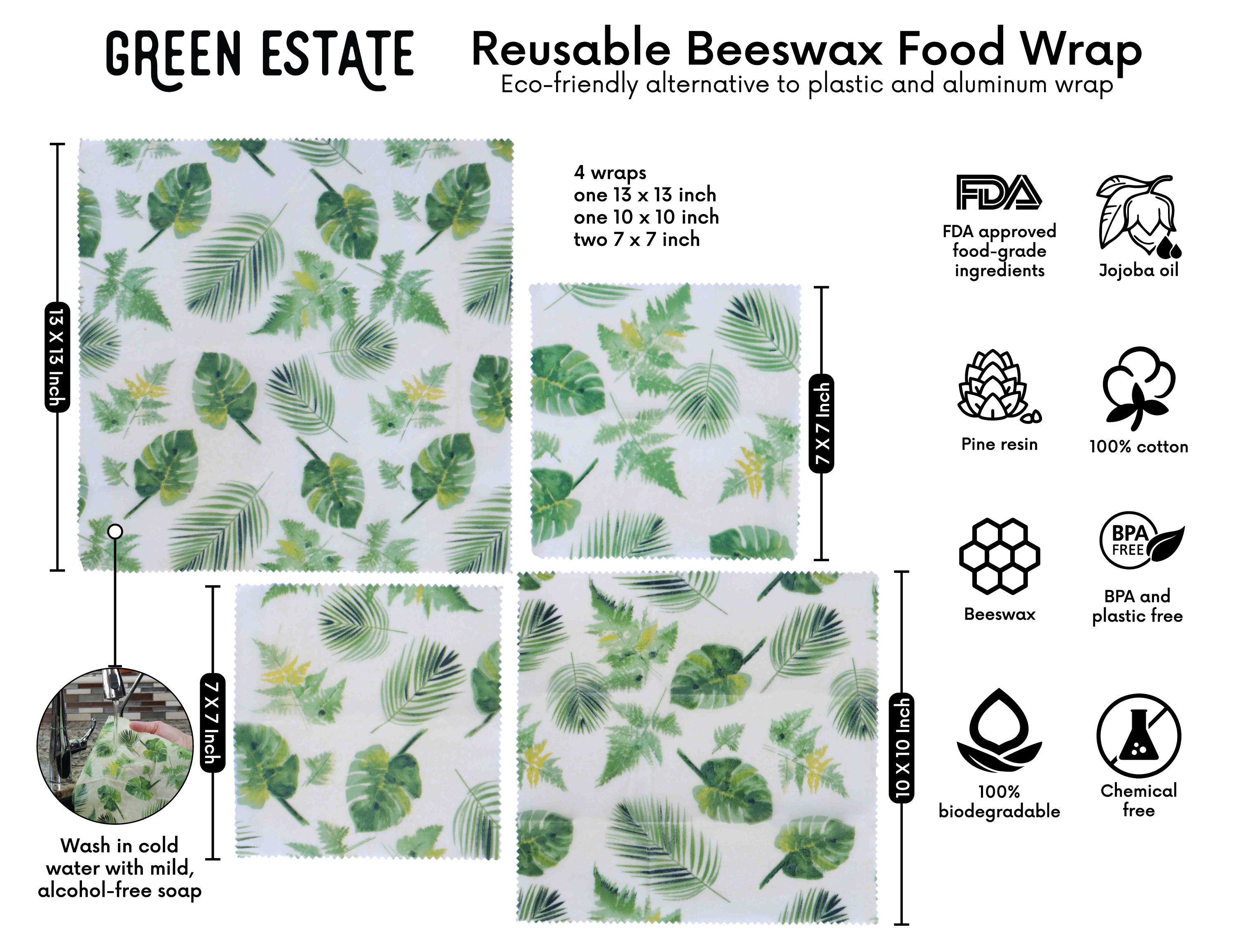 Reusable Food Wrap | Beeswax Wraps + Produce Bags | Tropical Leaves