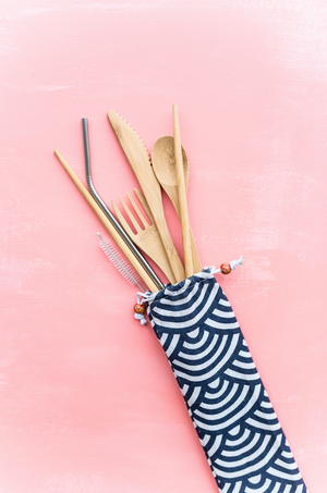 Bamboo Cutlery + Stainless Steel Straw