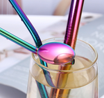 Rainbow Stainless Steel Drinking Straw Set