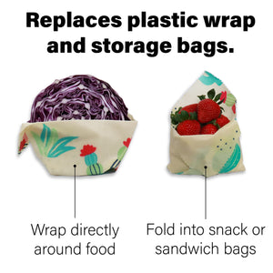 Beeswax wraps are used as a reusable food wrap. Our beeswax wraps come with reusable produce bags from Green Estate Goods
