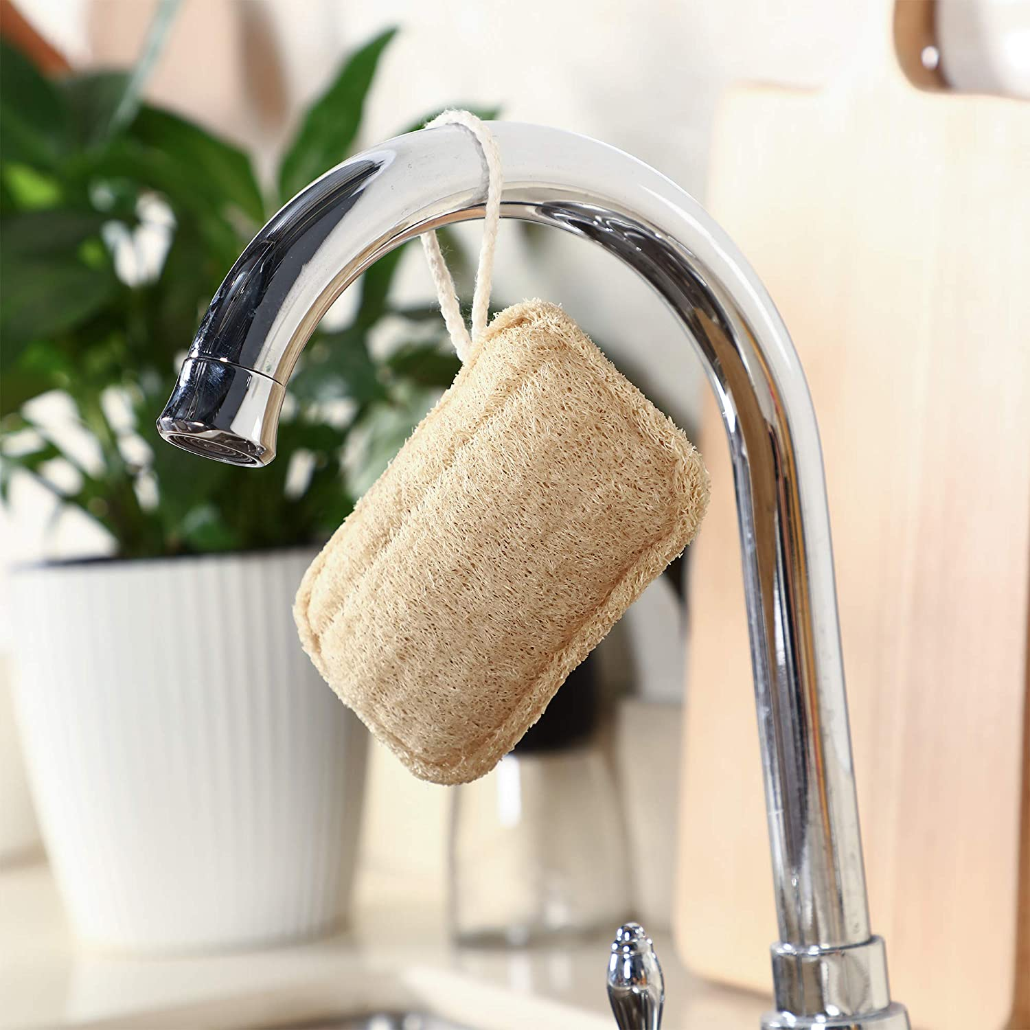 Natural Loofa Kitchen Scrubber - 4 pack