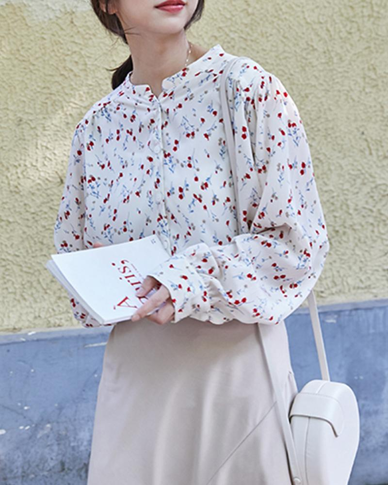 Round Neck Floral Chiffon Top