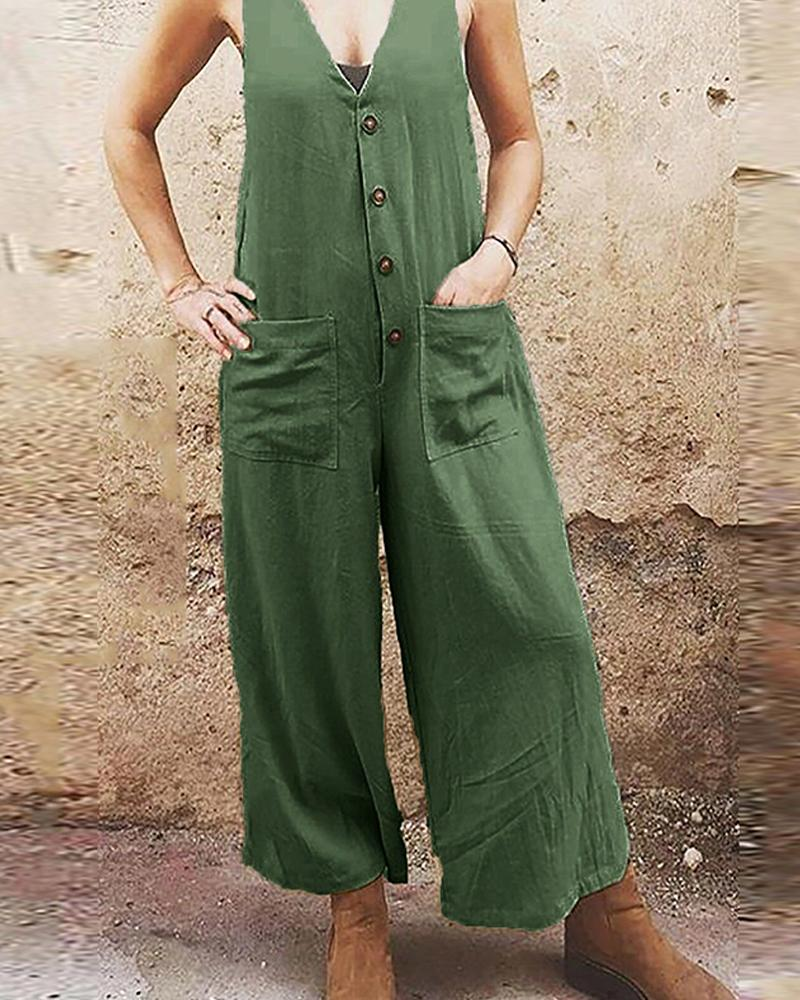 Solid Loose Sleeveless Single Buckle Jumpsuit