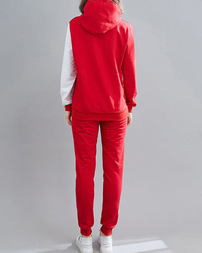 Colorblock Hooded Long Sleeve Sweatshirt With Jogger Pants Suit Sets