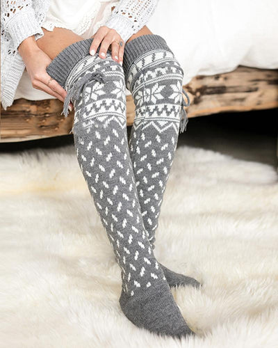Christmas Patterns Skinny Over-knee Socks