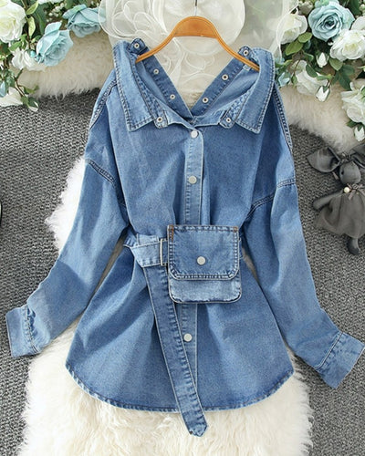 Button Design Long Sleeve Casual Denim Shirt