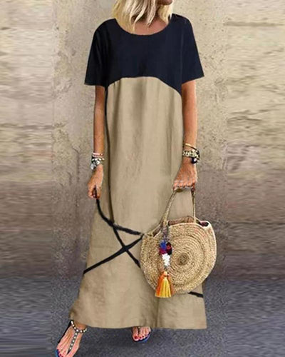 Contrast Color Linen Maxi Dress