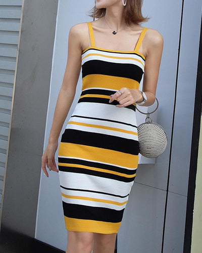 Striped Slim Fit Knitted Dress