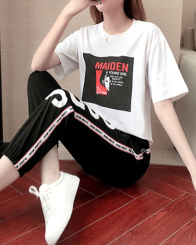 Graphic And Letter Print Short Sleeve T-shirt And Baggy Pants Suit Sets
