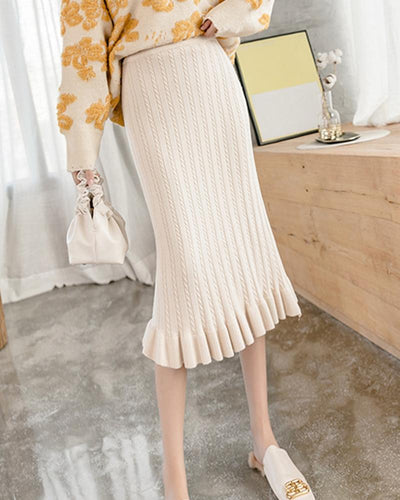 Solid Color Fishtail Sweater Skirt