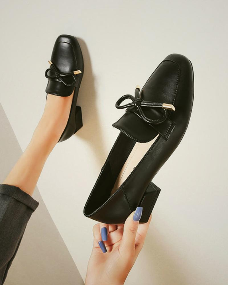 Comfy Bowknot Low Heel Loafers