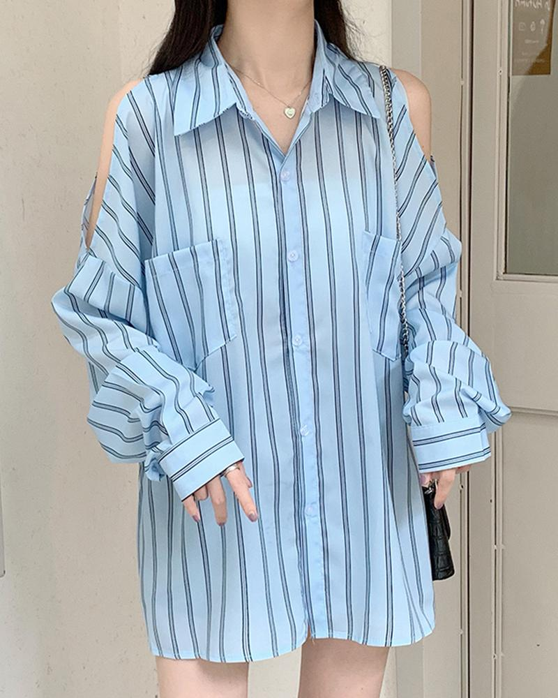 Brief Striped Off-shoulder Loose Blouse Top