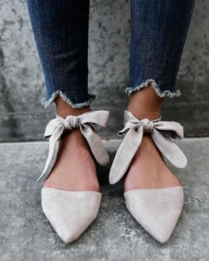 Solid Lace-up Pointed Flat Sandals