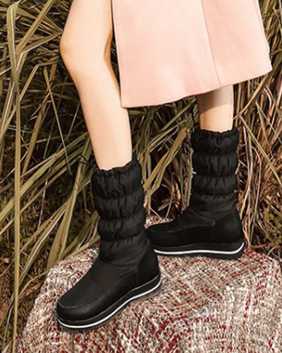 Round-toe Solid Color Platform Snow Boots