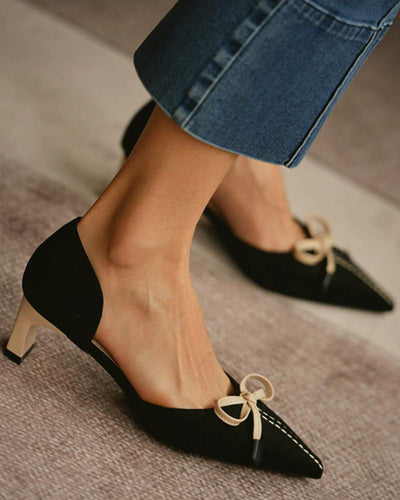 Pointed-toe Bow Shallow Mouth High Heels