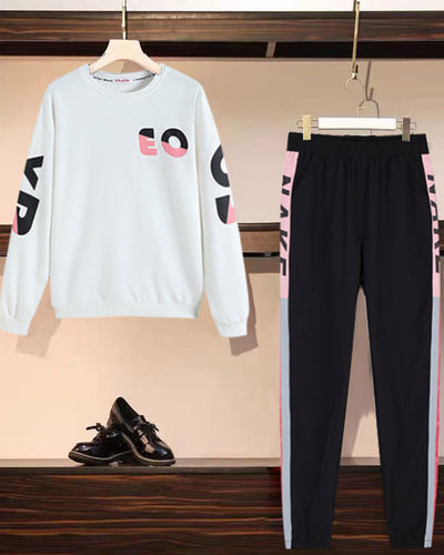 Color Block Letter Print Long Sleeve Sweatshirt Sets
