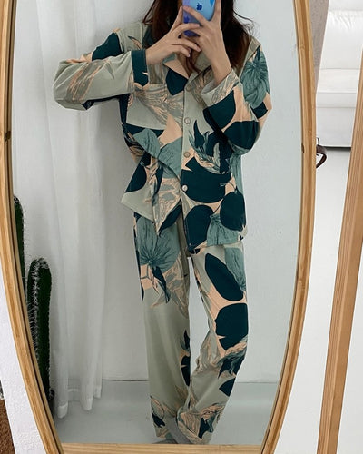 Color Patterns Print Long Sleeve Loose Button-up Blouse With Pants Pajamas Sets