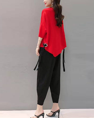 Solid Color Half Sleeve Blouse And Wide Leg Pants Suit Sets