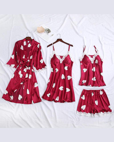 Strawberry Print 4Pcs Pajama Set