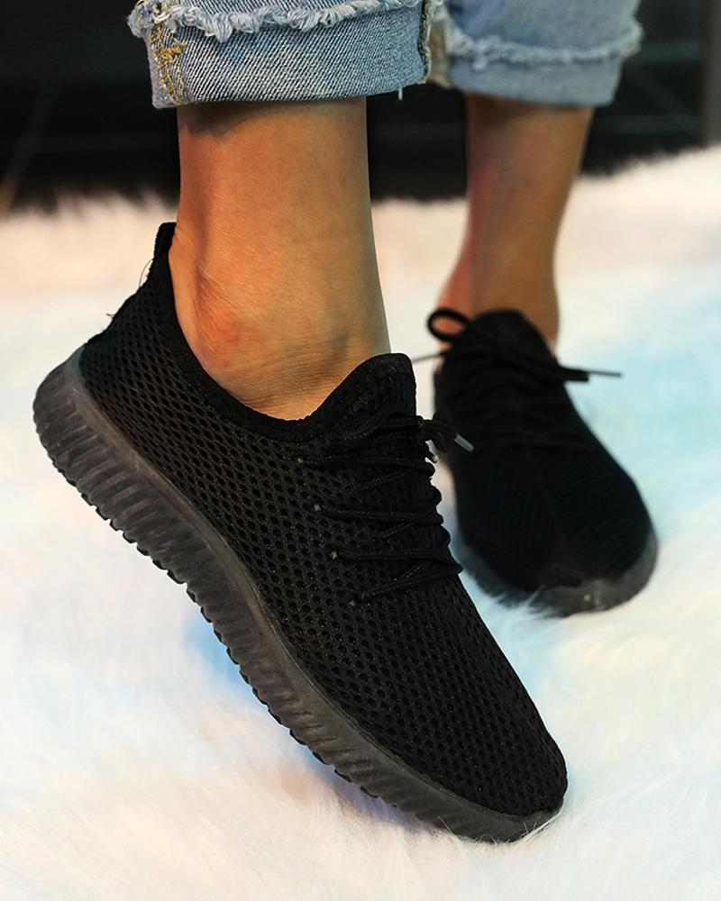 Brief Flying Woven Mesh Sneakers