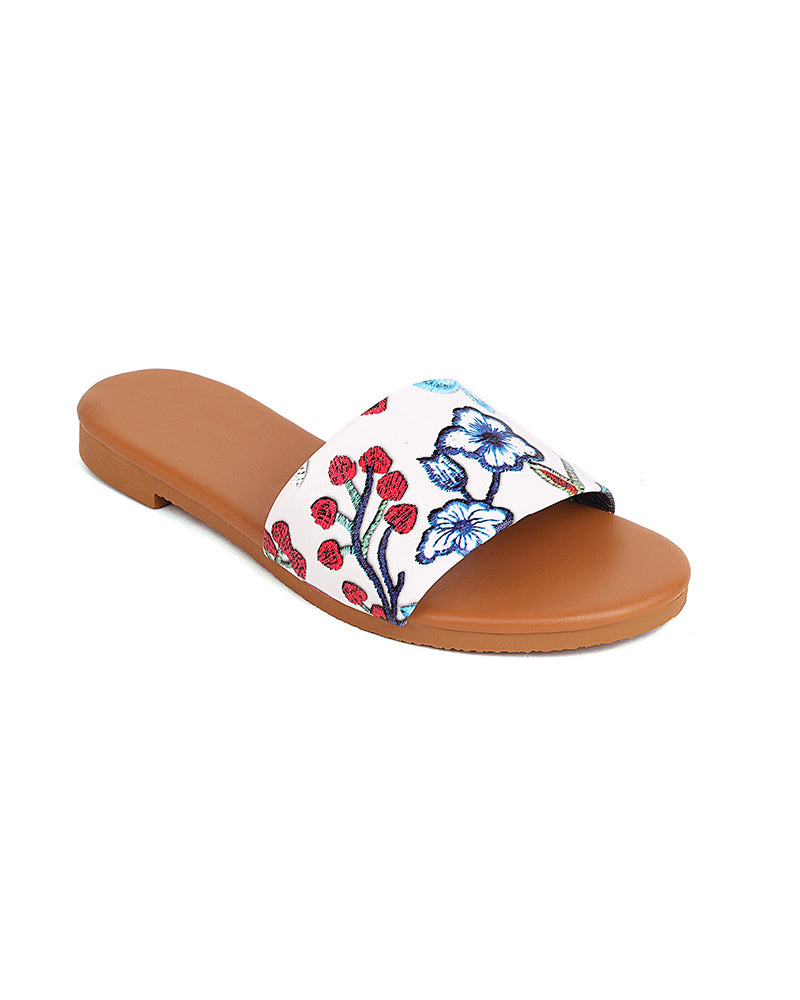 Floral Print Open-toe Round-toe Flat Sandals