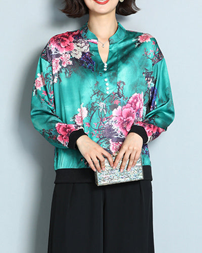 Floral Print Silk Long Sleeve Blouse