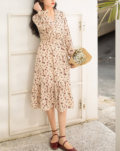 Floral Print Ruffle Hem Long Sleeve Midi Dress