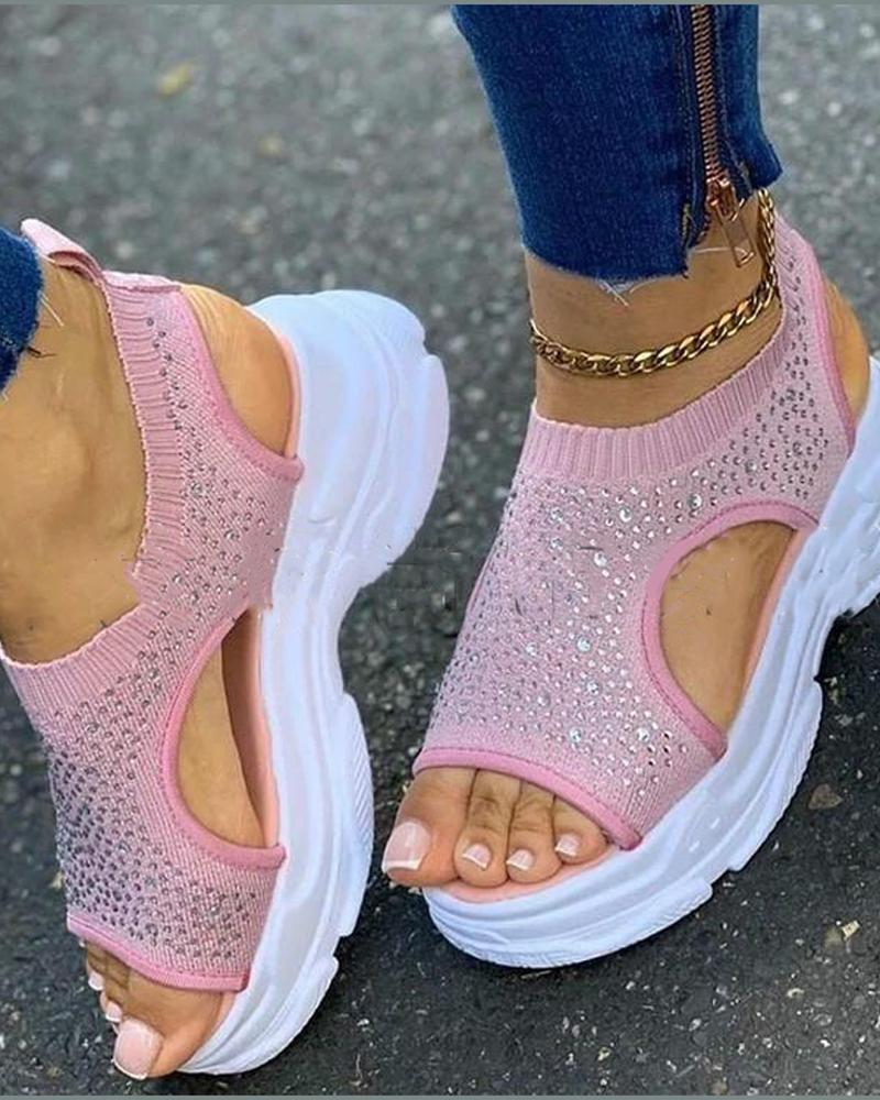 Sequin Embellished Platform Sandals
