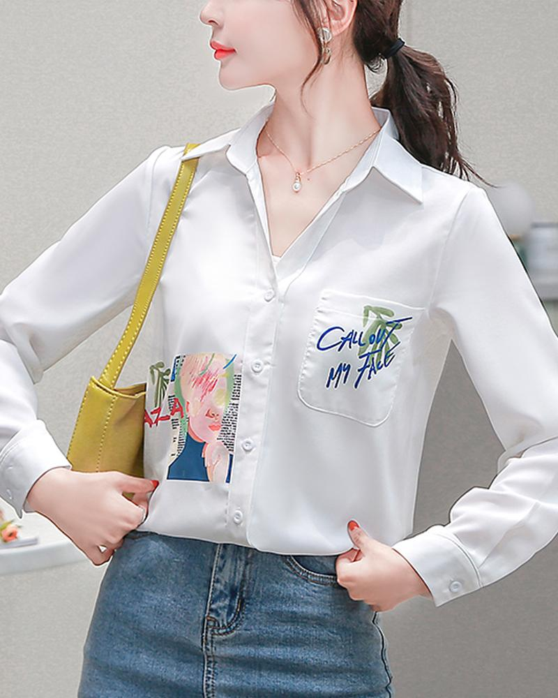 Print Off White Chiffon Shirt Top