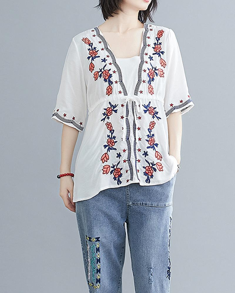 Floral Embroidery Half Sleeve Top