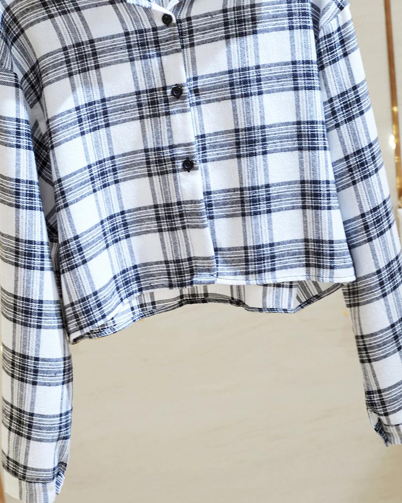 Plaid Long Sleeve Loose Cropped Blouse