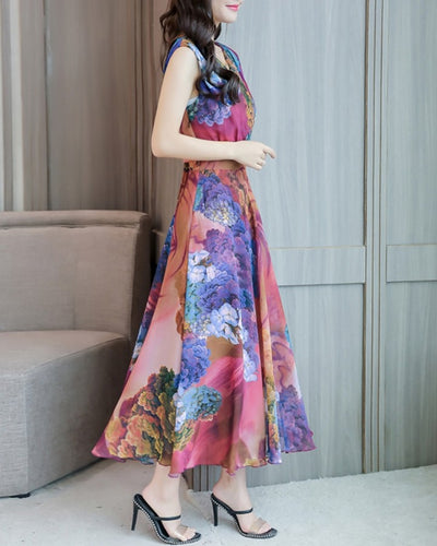 Multicolor Floral Print Sleeveless Chiffon Maxi Dress