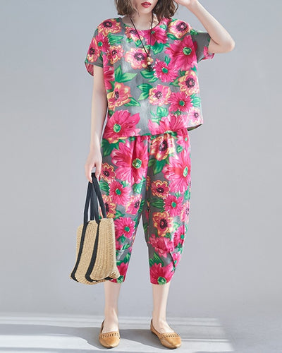 Floral Print Short Sleeve T-shirt And Harem Pants Suit Sets