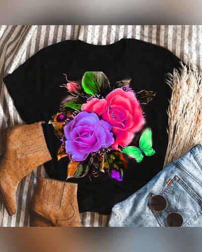 Multicolor Rose Print Short Sleeve T-shirt