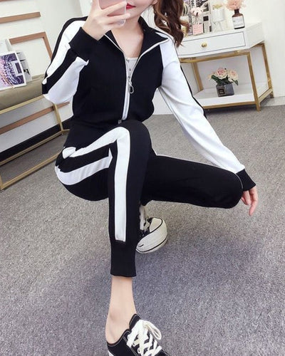 Color Block Long Sleeve Suit Sets