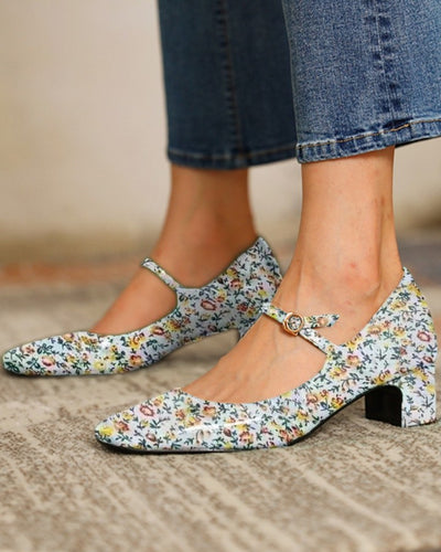 Floral Print Square-toe Low Heel Sandals