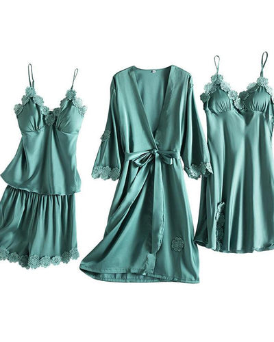 Satin Lace Detail 4Pcs Pajama Set