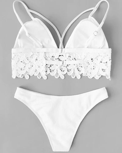 Solid Color Splicing Floral Lace Sling 2-Piece Bikini Sets