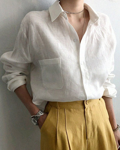 Solid Long Sleeve Button-up Blouse