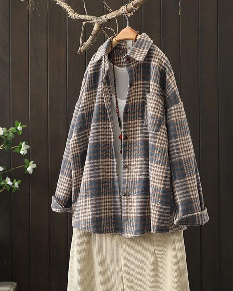 Check Print Long Sleeve Loose Coats