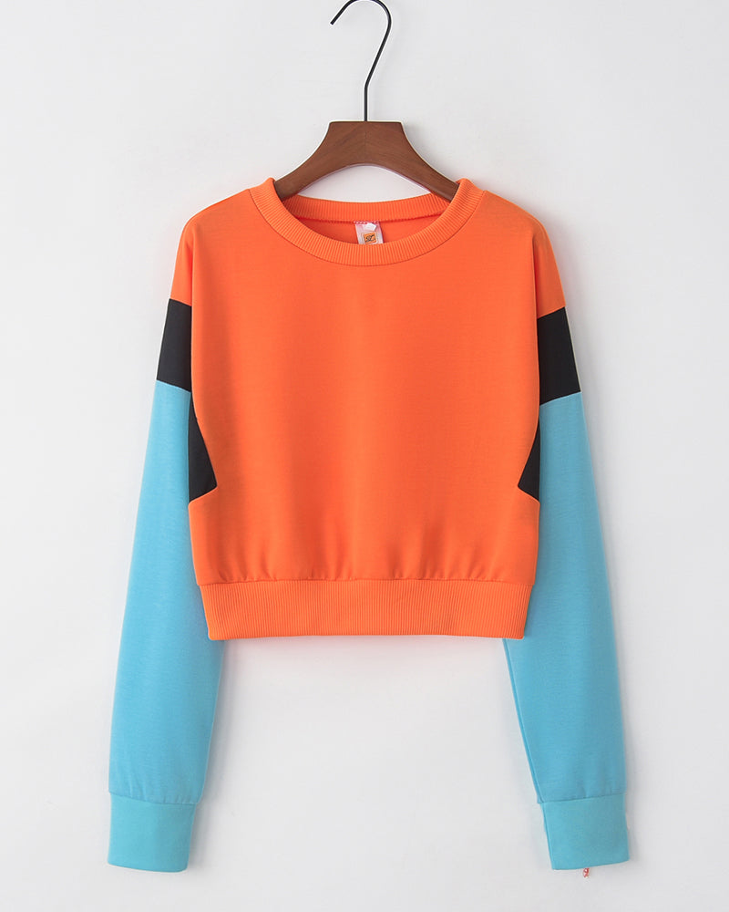 Colorblock Long Sleeve Loose Cropped Sweatshirts