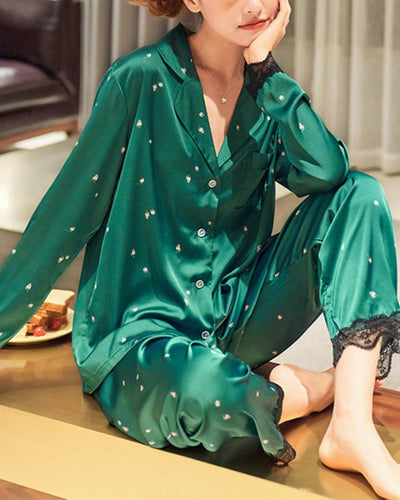 Floral Print Long Sleeve Button-up Lace Contrast Blouse With Pants Pajamas Sets