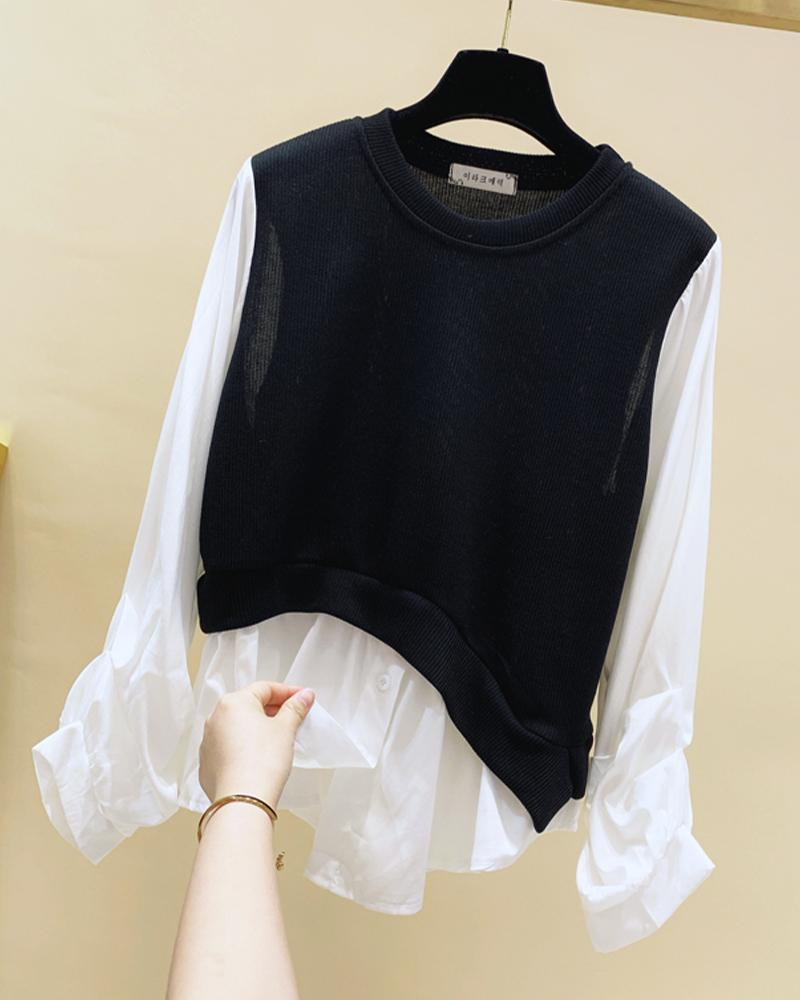 Colorblock Long Sleeve Ruffles 2 In 1 Knit Blouse