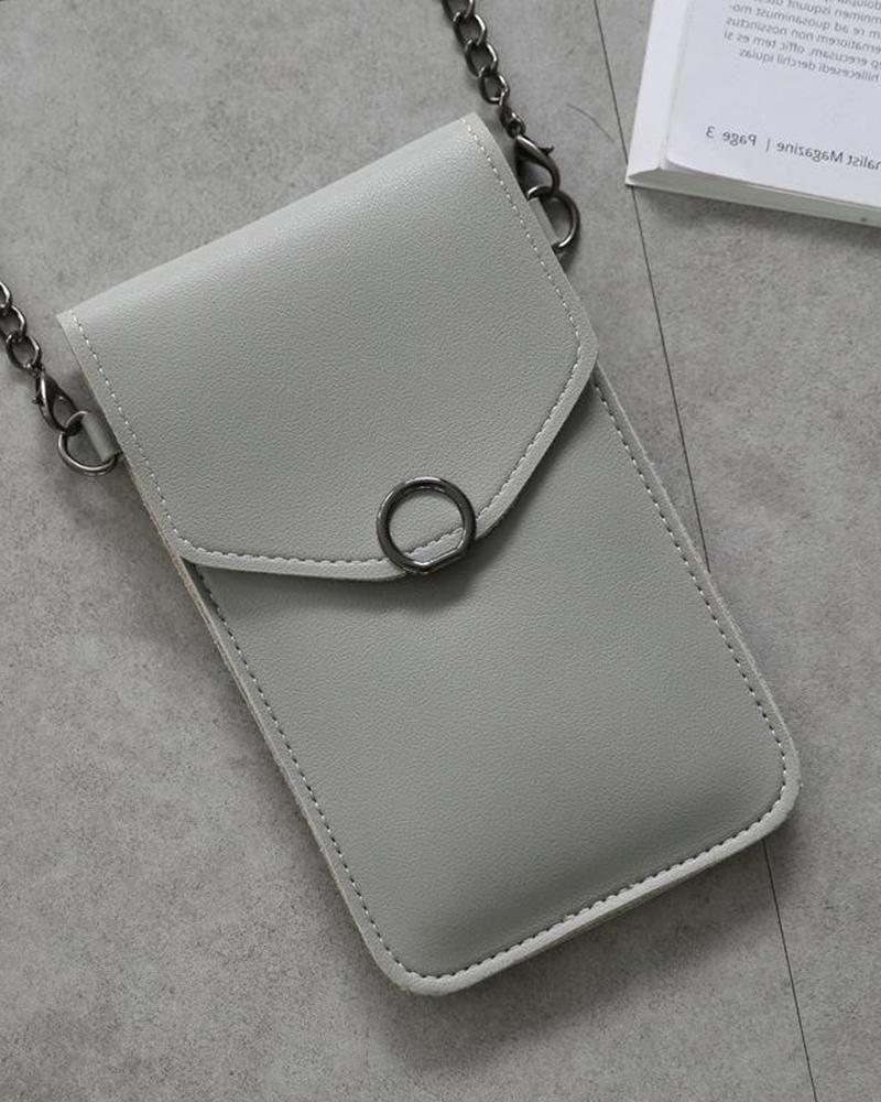 Ring Embellished Touch Screen Crossbody Bag